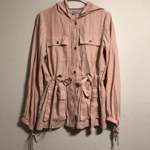 Pink Guess Hooded Utility Jacket